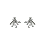 Sterling Silver Tied Ribbon Stud Earrings with White CZ
