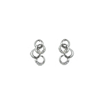 Sterling Silver Four Overlapping Rings Stud Earrings with White CZ