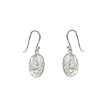 "Sterling Silver ""Cobblestone"" Oval Dangle Earrings"