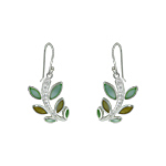 Sterling Silver Branch with Leaves Dangle Earrings with Green and Yellow Mother of Pearl and White C