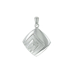 Sterling Silver High Polish and Matte Finish Diamond-Shaped Pendant With Rectangular Pattern