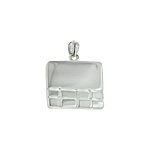 Sterling Silver High Polish and Matte Finish Rectangular Pendant With Tile Pattern