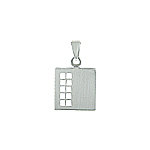 Sterling Silver Matte Finish Square Pendant With Openings