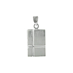 Sterling Silver Matte Finish Tag Pendant With High Polish Lines