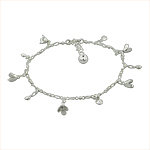 Sterling Silver Anklet with Flower and Crystal Charms