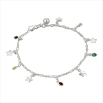 Sterling Silver Anklet with Stars and Multicolor Oval Crystal Charms