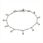 Sterling Silver Anklet with Duck and Ball Charms