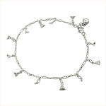 Sterling Silver Anklet with Christmas Tree Charms