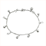 Sterling Silver Anklet with Ball and Circle Charms