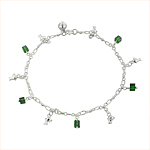 Sterling Silver Anklet with Dolphin and Green Crystal Cube Charms