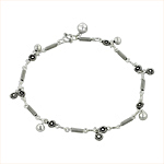 Sterling Silver Springs and Flowers Anklet with Flower and Balls Charms