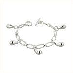 Sterling Silver Long and Short Open Cable Chain Bracelet with Teardrop Charms