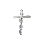 Sterling Silver Braided Cross Pendant with White CZ