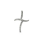 Sterling Silver Pave CZ Off-Center Cross Pendant