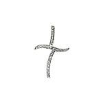 Sterling Silver Pave CZ Off-Center Cross Pendant
