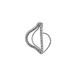 "Sterling Silver ""Harp"" Pendant with White CZ"