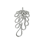 "Sterling Silver ""Oak Leaf"" Pendant with White CZ"