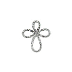 Sterling Silver Teardrop Cross Pendant with Pave Set White Cubic Zirconia