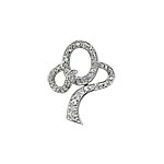 "Sterling Silver Pave CZ ""O"" with Ribbon Pendant"