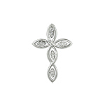Sterling Silver Pointed Ovals Cross Pendant with Pave CZ Centers