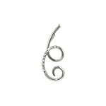 Sterling Silver Large Curl Pendant with White CZ