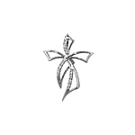 Sterling Silver Bow Cross Pendant with White CZ