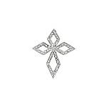 Sterling Silver Diamond-Shaped Pave CZ Cross Pendant