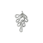Sterling Silver Small Oak Leaf Pendant with White CZ