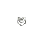 Sterling Silver Two Tiered Hearts Pendant with White CZ