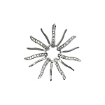 Sterling Silver Solid and Pave CZ Rays Sun Pendant