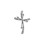 Sterling Silver Double Cross Pendant with White CZ