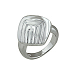 Sterling Silver Diamond-Shaped Ring with Rectangular Pattern