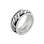 Sterling Silver Wide Rope Spin Ring