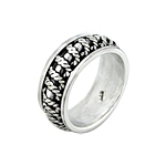 Sterling Silver Vertical Ropes Spin Ring