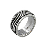 Sterling Silver Striped Band Spin Ring