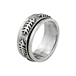 Sterling Silver Fish Bone Spin Ring