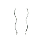Sterling Silver Twisted Long Spiral Stud Earrings