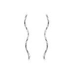Sterling Silver Twisted Long Spiral Stud Earrings