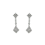 Sterling Silver Dangling Pave CZ Diamond Shaped Stud Earrings
