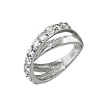 Sterling Silver Crossover Ring with White CZ