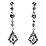 Sterling Silver Dangling Diamonds Stud Earrings with Marcasite