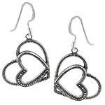 Sterling Silver Ribbed Hearts Dangle Earrings with Marcasite