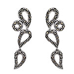Sterling Silver Three Loops and Circle Stud Earrings with Marcasite