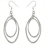 Sterling Silver  Double Ovals Dangle Earrings