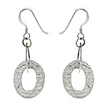 Sterling Silver Open Oval Hammered Dangle Earrings