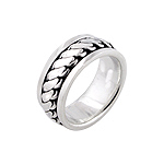 Sterling Silver Flat Chain Spin Ring