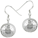 Sterling Silver 14mm Hammered Ball Dangle Earrings