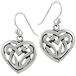 Sterling Silver Heart-Shaped Celtic Knot Dangle Earrings