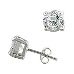 Sterling Silver Diamond Cut 7mm Stud Earrings with White CZ
