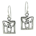 Sterling Silver Celtic Knot Square Dangle Earrings